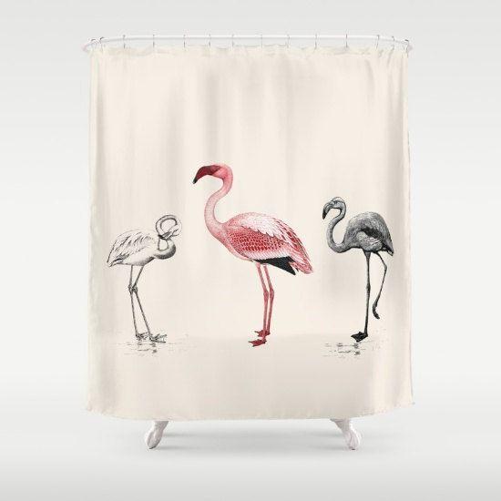Pink Flamingo rideau de douche le Tres Flam-OIG rétro