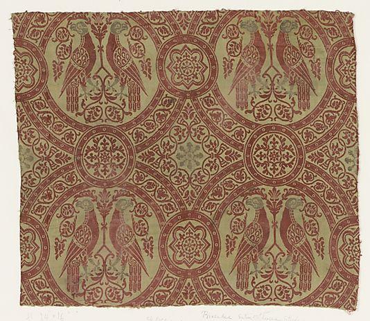silk and metal thread, Italian, 14thc: