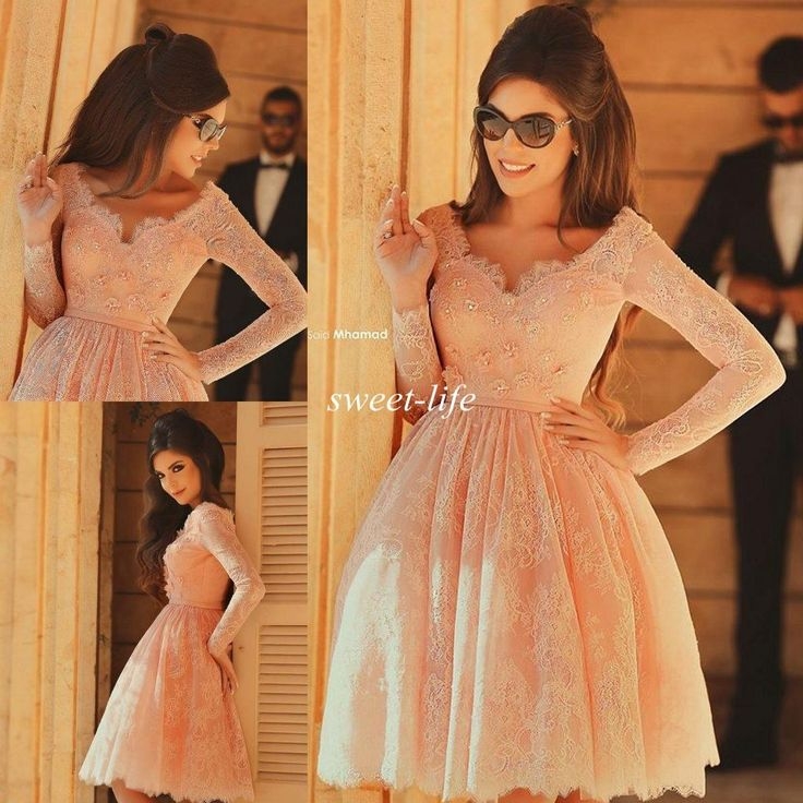 2015 Cheap Short Homecoming Dresses Lace with Long Sleeves A-Line Knee Length Beads Party Gowns Kids 8th Graduation Prom Dress Online with $91.23/Piece on Sweet-life's Store | DHgate.com
