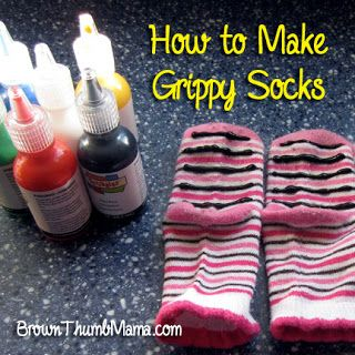 DIY Traction Socks | Tile and hardwood floors? How do you make grippy socks for dogs, and toddlers? kids? EASY! Using clean socks, PAINT the bottom WITH raised lines of FABRIC PAINT. Raised paint is what provides traction. Make it fun! Purchase different colors and make designs (zig zags, waves, etc).  Wash and dry with as little heat as possible to avoid peeling.