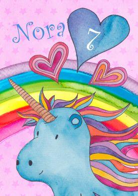 Für Kleine Einhorn Fans: Fröhlich Bunte Einladung Zum 7. Geburtstag Mit  Regenbogen Und
