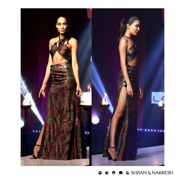 Lisa Haydon channeling fierce poise in #ShivanAndNarresh Disco Technofoil Gown on India's Next Top Model Season 2 | #IndiasNextTopModel #Season2 #Style #Styleinspiration #LisaHaydon #Fashion #LégerLeisure