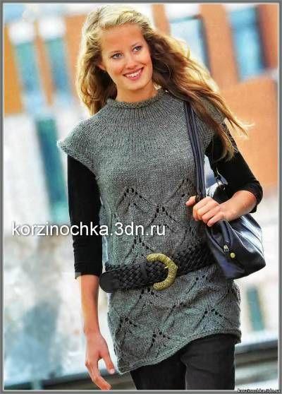Серая вязаная туника с узором из ромбов - 3 Декабря 2013 - Вязание спицами, модели и схемы для вязания на спицах