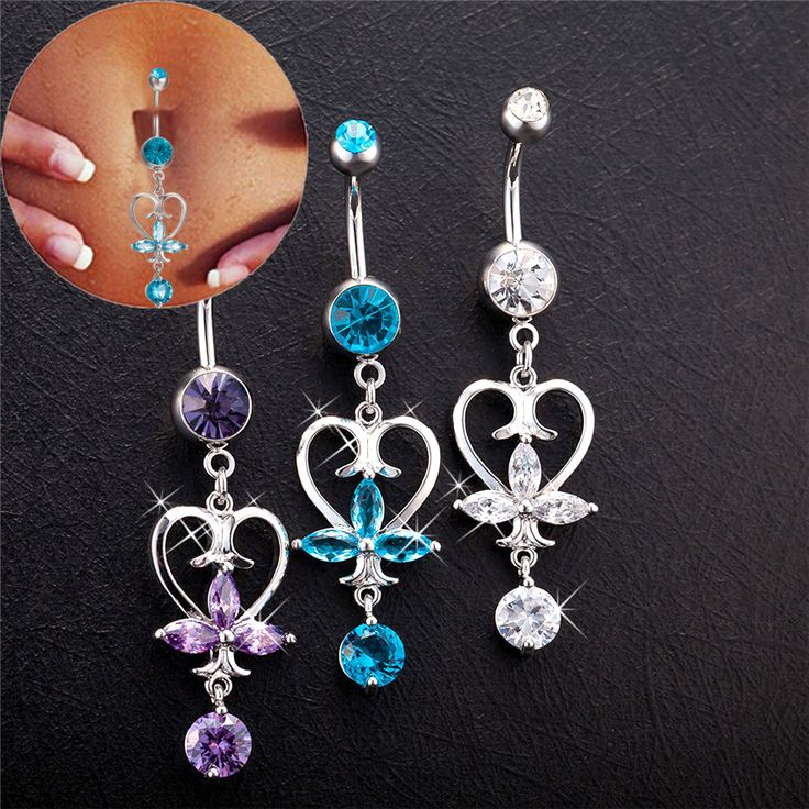 2017 Noble Heart Dangle Piercing Navel Jewelry Belly Piercings Purple Clear Blue  Cubic Zirconia Gold-Color Belly Button Rings