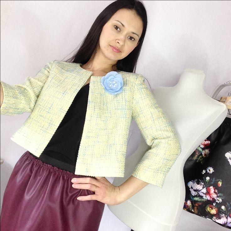 #jacket Жакет а-ля Шанель, кожаная юбка, топ в бельевом стиле. Наличие и заказ. Ателье Шангарель.