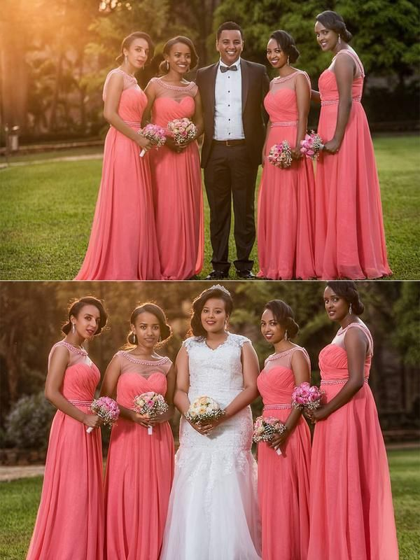 12948408aebe Plus Size Long Bridesmaid Dresses Beaded Watermelon Red Wedding ...