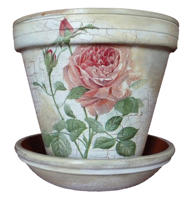 Shabby chic rose vintage hand crafted painted gift flower pot £9.99