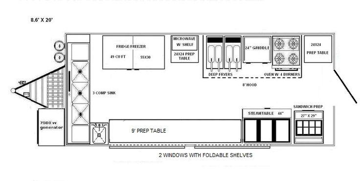blueprints of a food truck   Floorplans 8x20