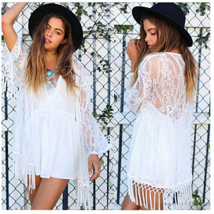 White Lace Summer Kimono Cardigan - Bohemian Kimono - Boho Chic Swimsuit Cover up - Fringe Kimono Cardigan