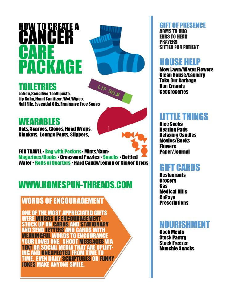 DIY Cancer Care Package | HomeSpun-Threads ~ Little thoughtful useful and comforting things to gather and give to a patient and their primary caregiver. Remember there is a LOT of waiting and down time involved whenever a hospital visit or stay is involved.