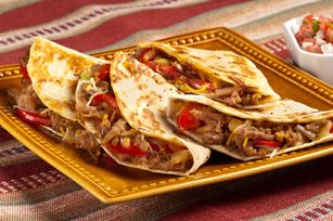 Pulled Pork Quesadilla Recipe - Kraft Recipes -- using corn tortillas -- I really like this as a great way to use pulled pork left overs!