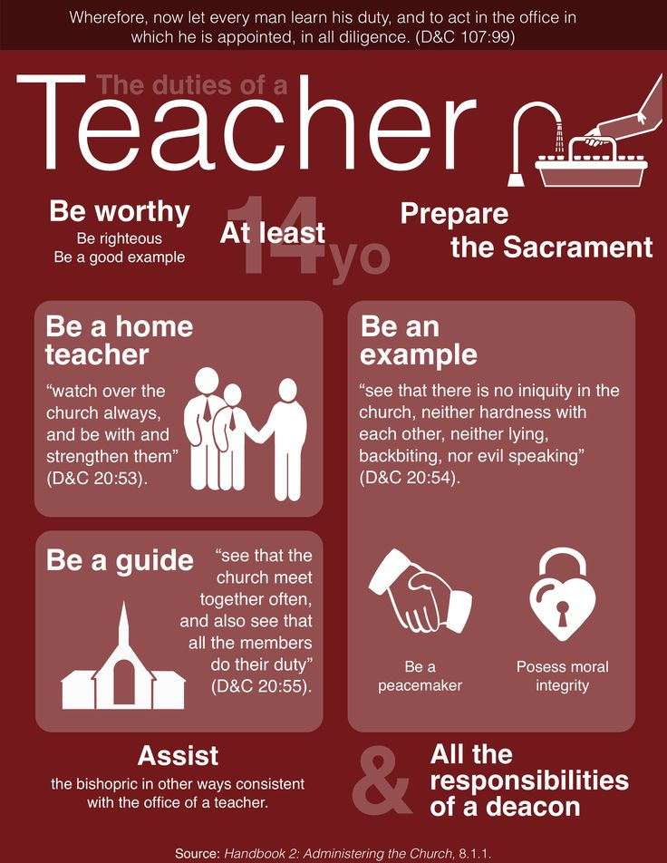 The duties of a teacher. Check out my Religion Matters board for the duties of Deacons and Priests. https://www.pinterest.com/youngb2/religion-matters/ #LDS #Mormon #Aaronic Priesthood #Teacher #Duties