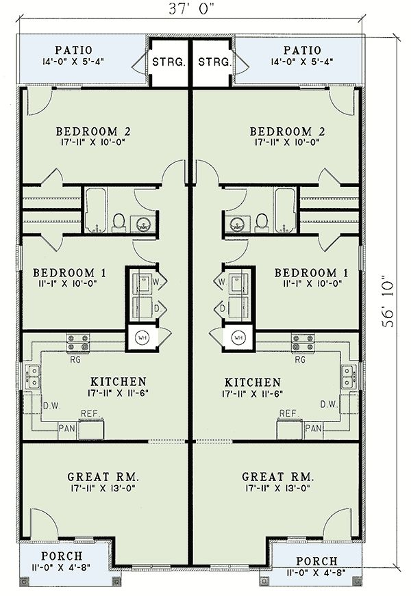 Contemporary Duplex Plan - 59370ND floor plan - Main Level