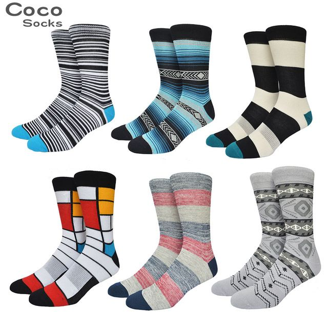 New Fashion Retro Colorful Stripes Skateboard Mens Socks Hit Colored Asymmetrical Plaid Ethnic Lovers Sock Hurajuku Weed Sox521w