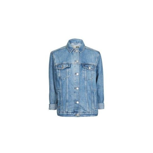 Topshop Moto Elbow Rip Jacket (200 BRL) ❤ liked on Polyvore featuring outerwear, jackets, distressed jacket, cotton jacket, topshop jackets, denim jacket and blue jackets