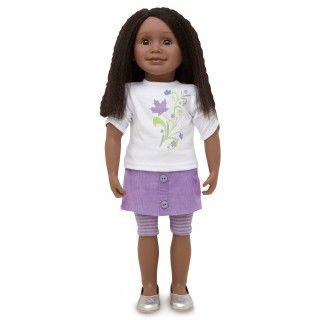 Maplelea Friend with shoulder-length textured black-brown hair, dark skin, brown eyes
