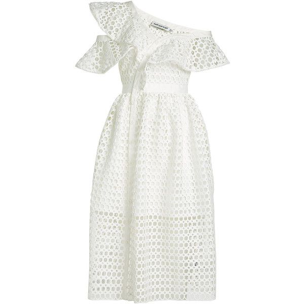 Self-Portrait Lace Frill Dress (€329) ❤ liked on Polyvore featuring dresses, white, white ruffle dress, white dress, lacy white dress, ruffled dresses and one shoulder lace dress