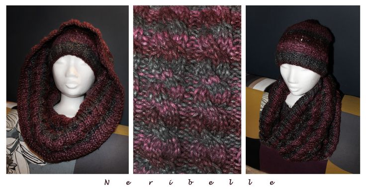 Knitted owl set - hat and cowl neck warmer More knitwear : https://www.facebook.com/pages/Neribelle/180901425396019?ref=hl