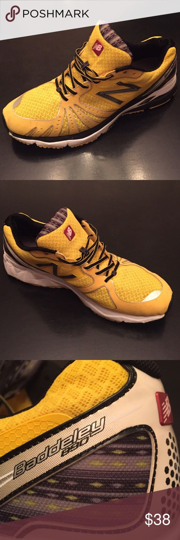 """New Balance MENS Baddeley 890 Running Shoes • 12.5 """"New Balance"""" Baddeley 890 MENS RUNNING SHOES • Yellow & Grey • these were only worn twice for a run each time and they did get a bit dirty on the bottom but that could probably come off with a wash • EUC • Men's 12.5 New Balance Shoes Sneakers"""