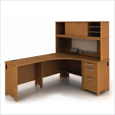 Bush Envoy L Shaped Desk In Natural Cherry Env Pkg4 Lowest Price Office Furniturecherry