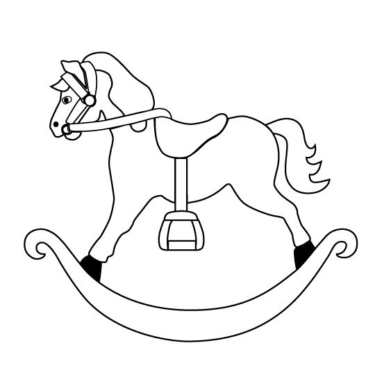 view the rocking horse pictures print and color the rocking horse outline drawing - Baby Rocking Horse Coloring Pages