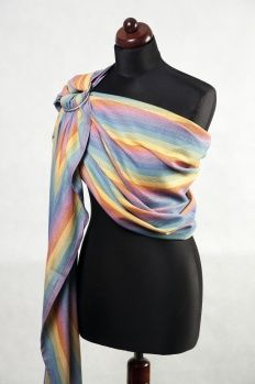 Ring Sling, Broken Twill Weave (bamboo + cotton) - Sunrise Rainbow - LennyLamb.com