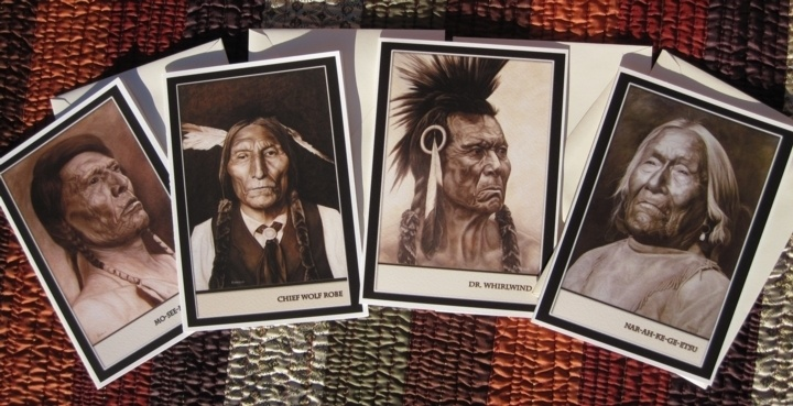 Set Of Four Native American Greeting Cards: Greeting Cards, Native American