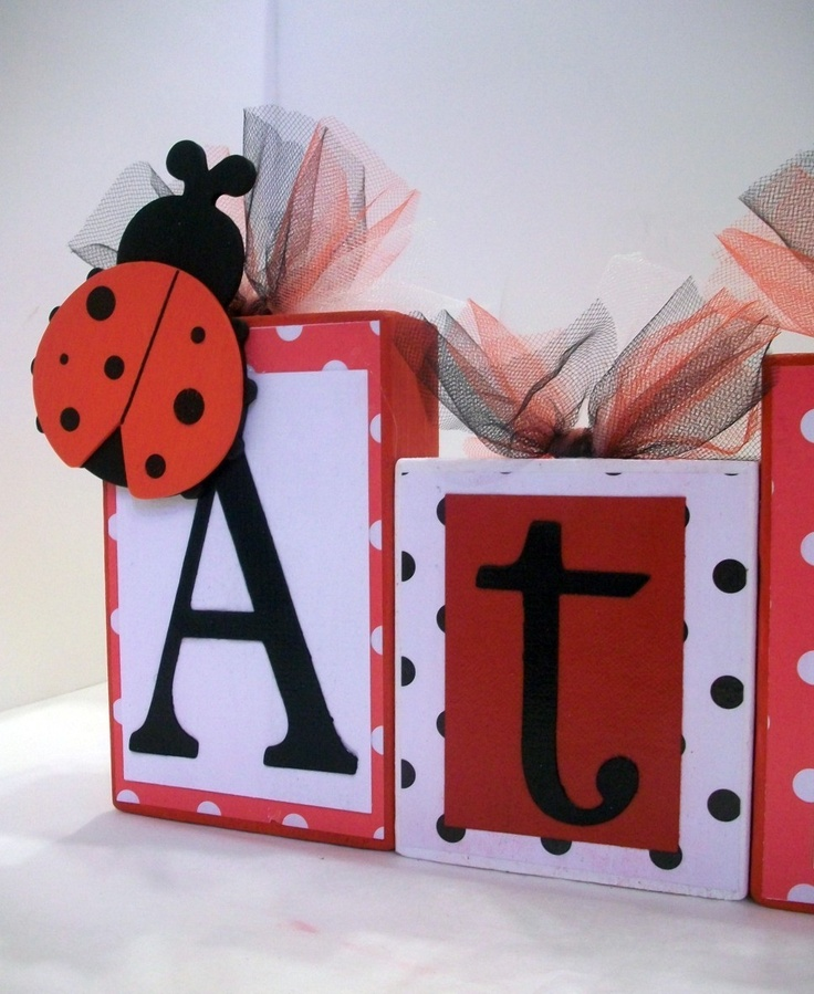 ladybug wooden blocks any name baby teacher classroom decor family baby shower photo shoots