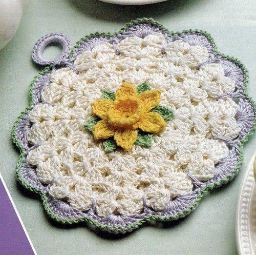 Daffodil Pot Holder Crochet Pattern | hollywoodpatterns - Craft Supplies on ArtFire