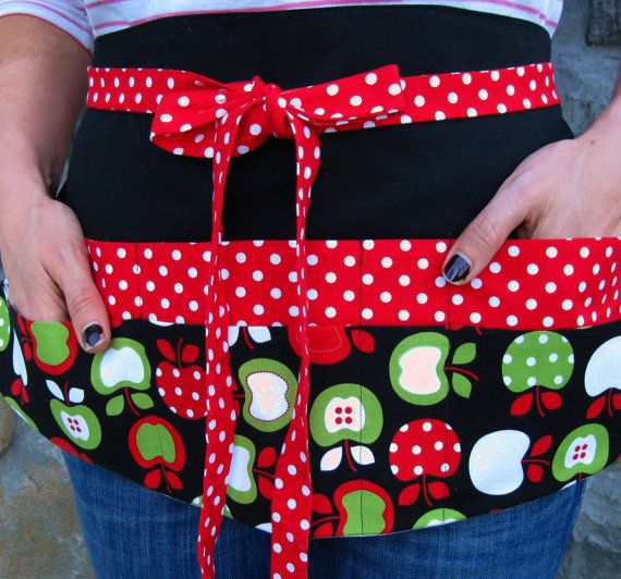 Teachers Apron -- Colorful Apples Eight Pocket Utility Apron for Classrooms, Vendors and Crafters in Red, White and Black $24.95