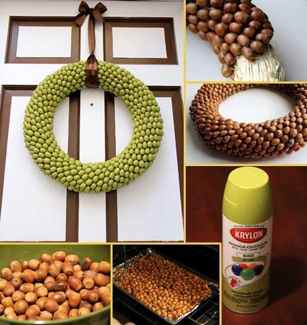 DIY painted acorn wreath
