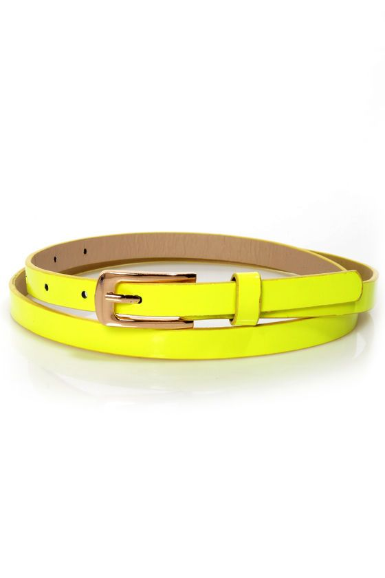 Cute Neon Yellow Belt - Skinny Belt - Vegan Belt - $9.00