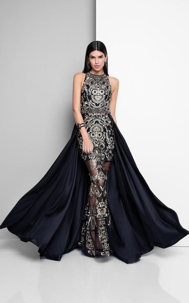 Terani Couture - 1712E3648 Look sophisticated and classy with this gown by  Terani Couture 1712E3648. Stunning black gold two-tone metallic embroidery  is ... f920a65fa8