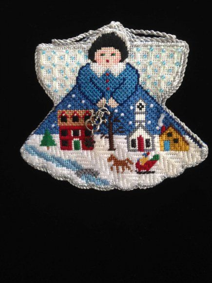 2015 ANG Auction - Painted Pony Angels. Stitched by Royal Palm Chapter member Lin Jacoby. Finished by Elena Perdomo.