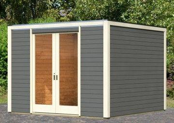 Karibu Gartenhaus Cubus Front 1 Flachdach 28 mm System - terragrau