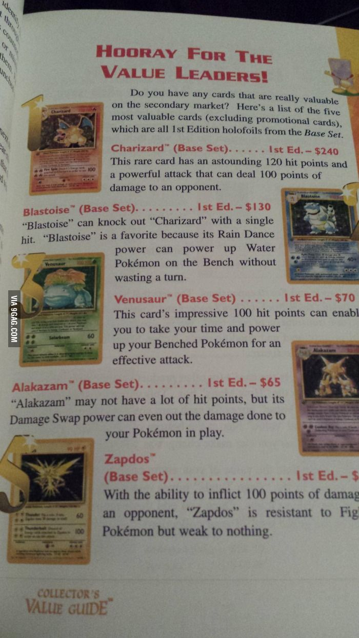 Pokemon card values in 1996
