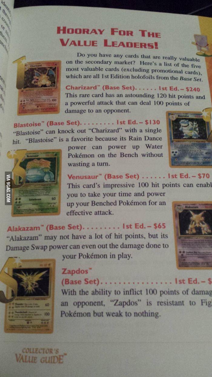 Pokemon card values in 1996