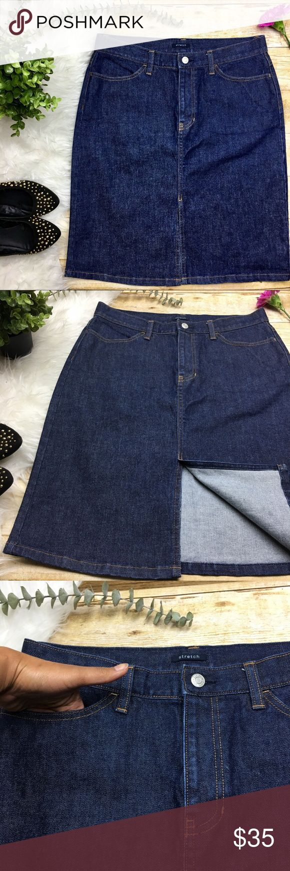 GAP Front Split Stretch Dark Wash Denim Skirt GAP Front Split Stretch Dark Wash Denim Skirt   Size 10  98% cotton 2% spandex  In excellent condition! 4 Pockets  Front split  Waist: 15 1/2 inches  Length: 23 inches GAP Skirts