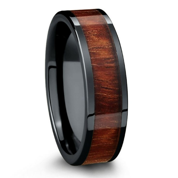 6mm WOOD WEDDING BAND crafted with black high tech ceramic. This WOOD RING has a flat profile and comfort fit. The perfect Men's WOOD WEDDING BANDS. Free shipping!
