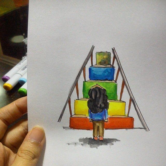 """""""Kamu menaiki tangga warna untuk memperoleh warna yang banyak saat kamu di atas. Itulah pengalaman hidupmu."""""""