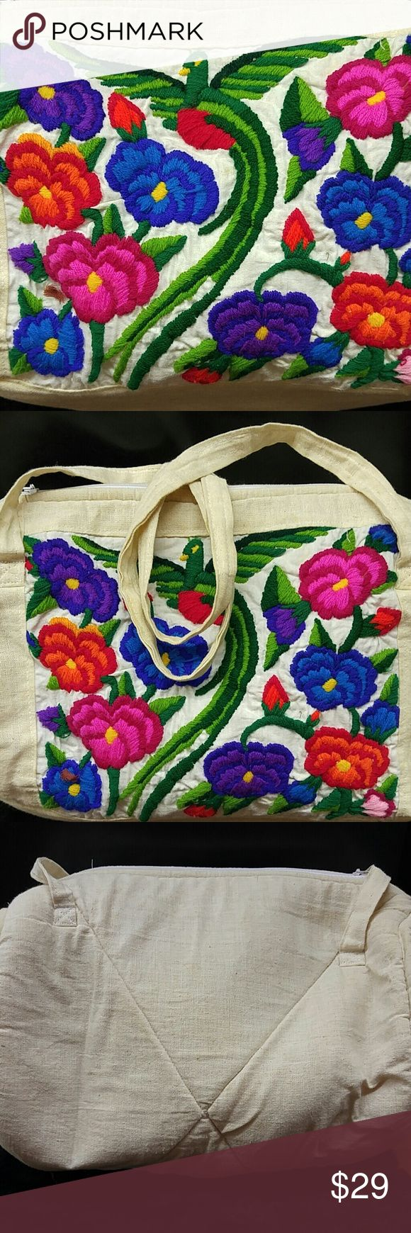 Vintage Crewel Medium Tote Duffle Bag 🌼Vintage muslin fabric duffle 🌼Vibrant wool stitch work  🌼Flowers and Bird of Paradise 🌼A few tiny blemishes to the fabric, hard to say if it's age or an inherent characteristic of the muslin 🌼Sturdy straps and working metal Zipper🌼 Bundles and offers always welcome! Bags Totes