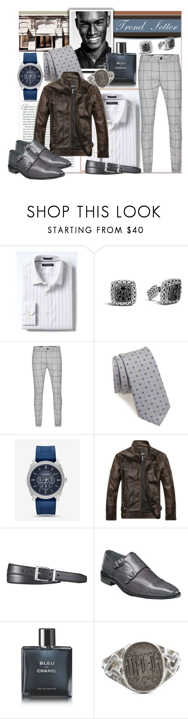 """Trend Setter"" by prettyinjewels ❤ liked on Polyvore featuring Banana Republic, Stop Staring!, John Hardy, Topman, Nordstrom, Express, Polo Ralph Lauren, Stacy Adams, Chanel and Vintage"