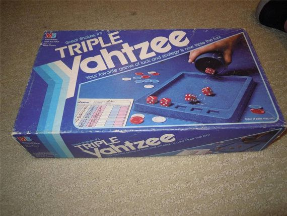 Vintage 1982 triple Yahtzee game with red by AltmodischVintage