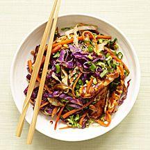WeightWatchers.com: Weight Watchers Recipe - Moo Shu Pork Stir Fry.  Can use siracha instead of the Sambal Oelek.