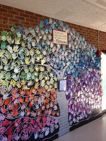 ***Paint Tree at end of year... cut paper for hands, Bird or sign with words... Creation Station: School-wide Mural