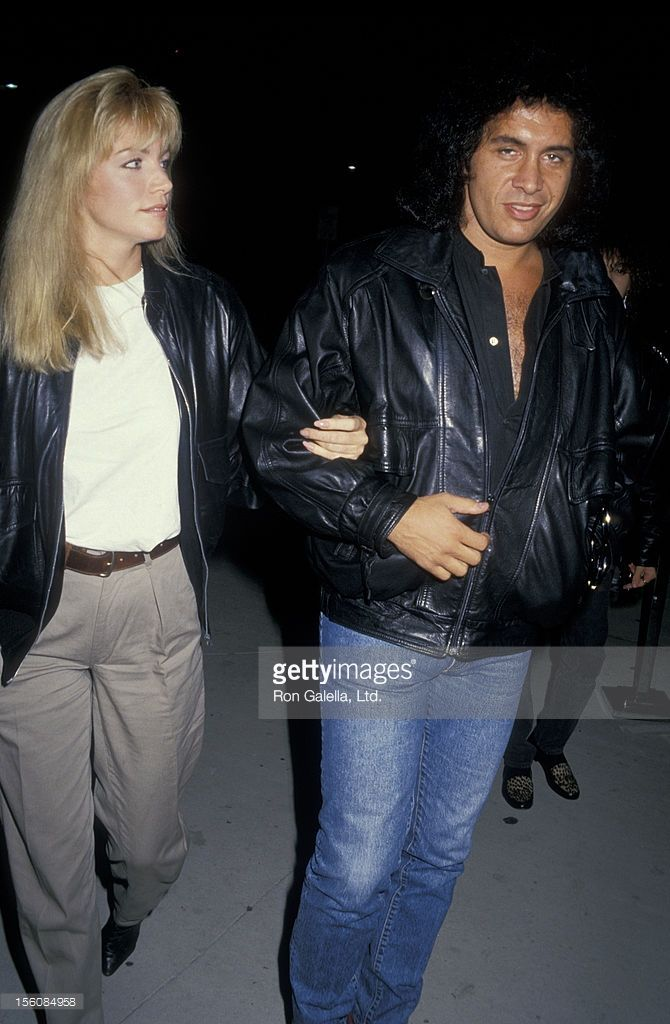 Musician Gene Simmons and actress Shannon Tweed attending the premiere of 'Prince of Darkness' on October 21, 1987 at the Cineplex Odeon Cinema in Century City, California.
