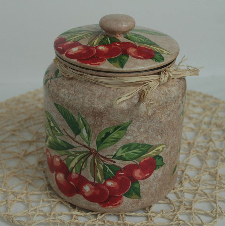 Glass Cookie Jar,Glass Jar with Lid in Decoupage Style,Housewarming Gift by Tatianascraft on Etsy