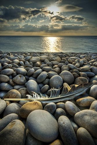Stunning shot: Natural Photography, Pebble Beaches, Sunsets, Beautiful, Landscape Photography, Sea, Stones, Feathers, Rocks