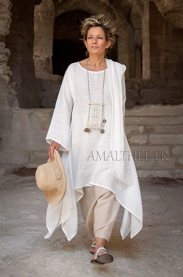 Loose fit off white linen tunic