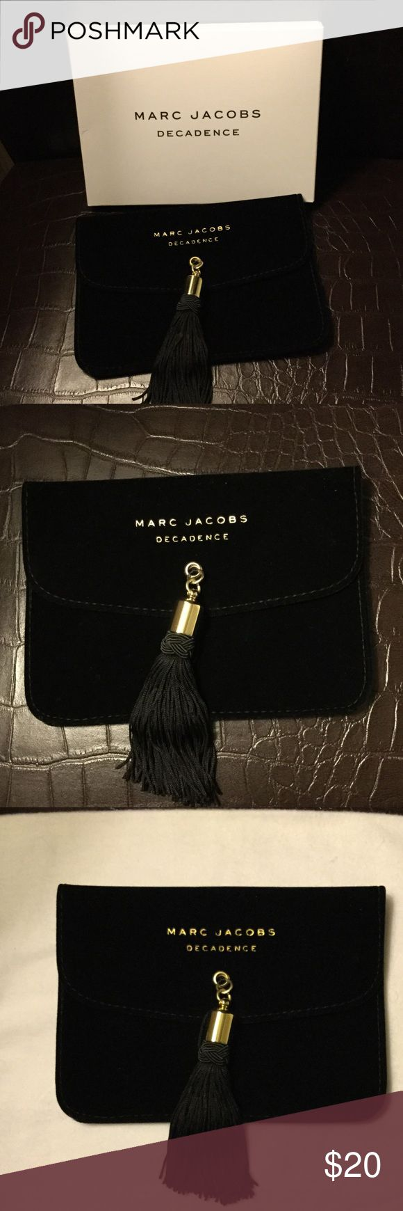 """Marc Jacobs Decadence Make-Up Pouch Marc Jacobs Decadence Make-Up Pouch, 7.25"""" by 5.25"""", Black Velvet with Black tassel, gold hardware, never used Marc Jacobs Bags Cosmetic Bags & Cases"""